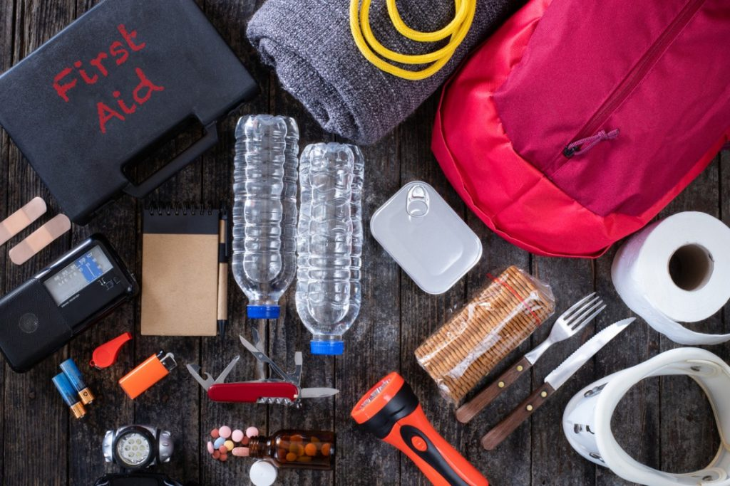Items you might find in a moving survival kit: bottled water, toilet paper, aspirin, bandaids, etc.