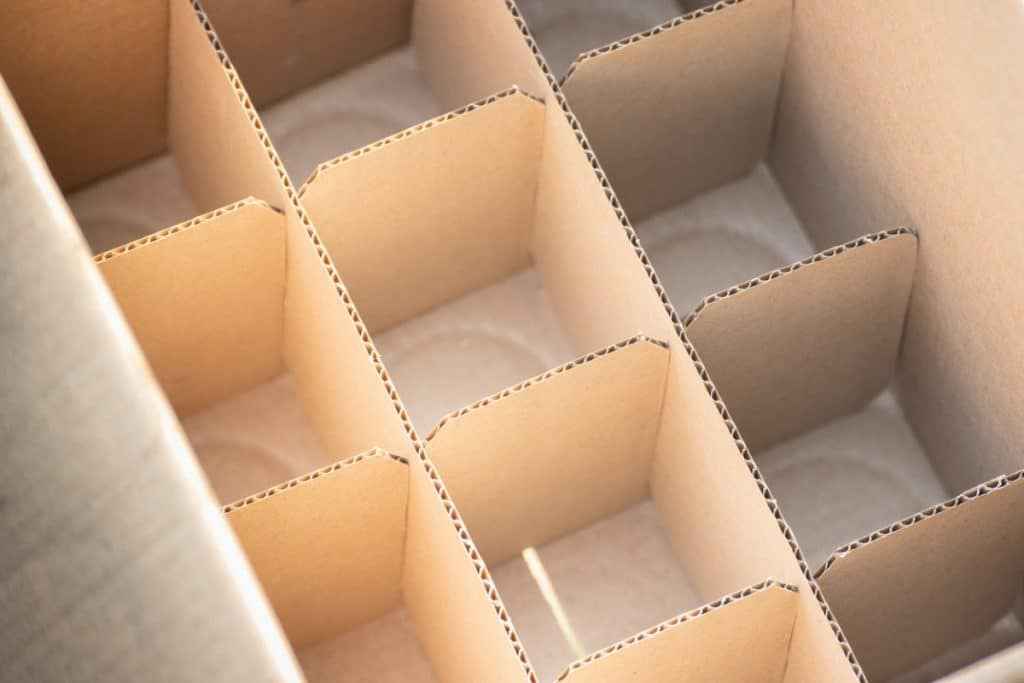 Cardboard box with dividers for glassware