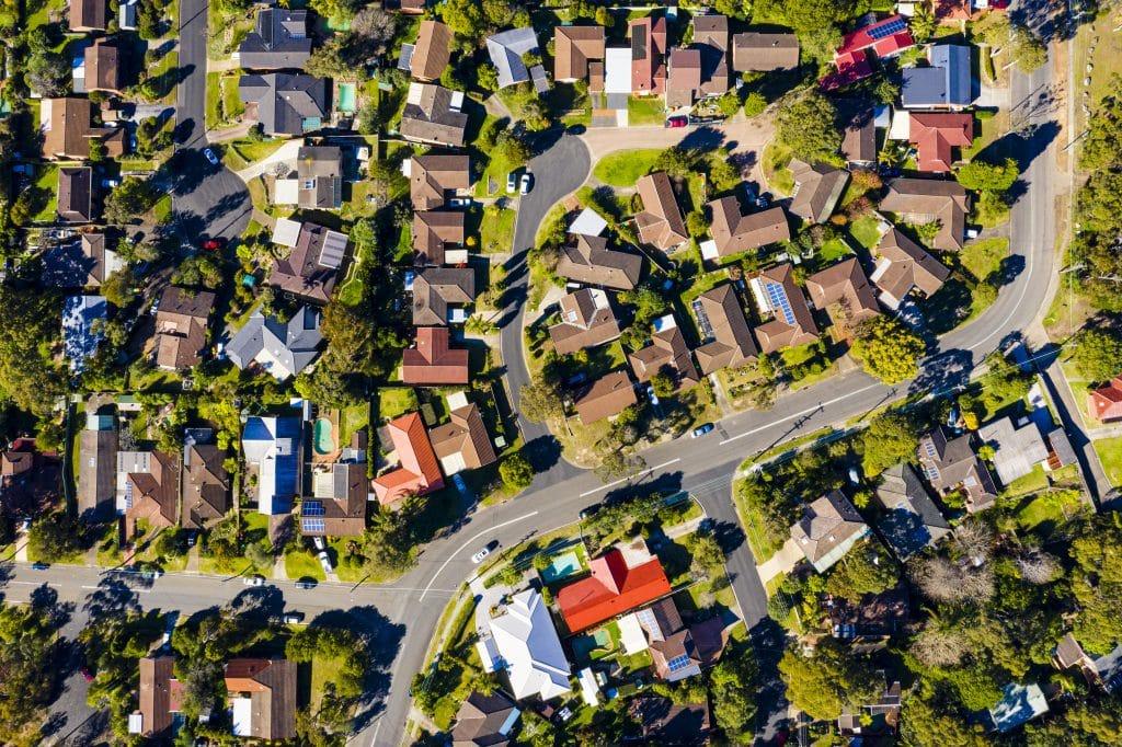 Overhead view of suburban neighborhood.