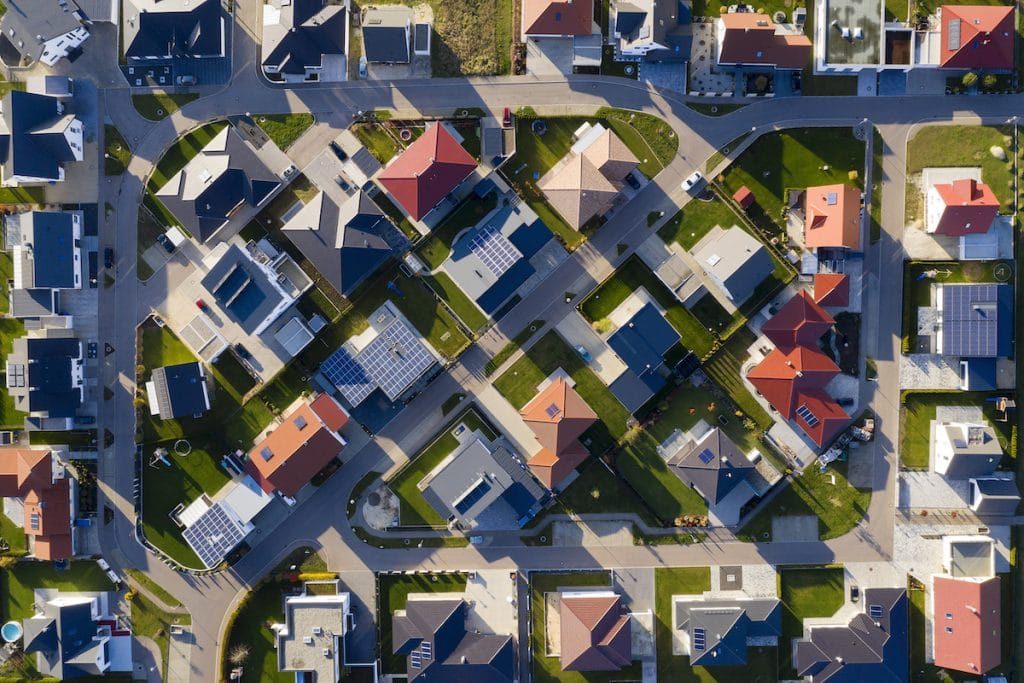 Overview shot of a suburb neighborhood.