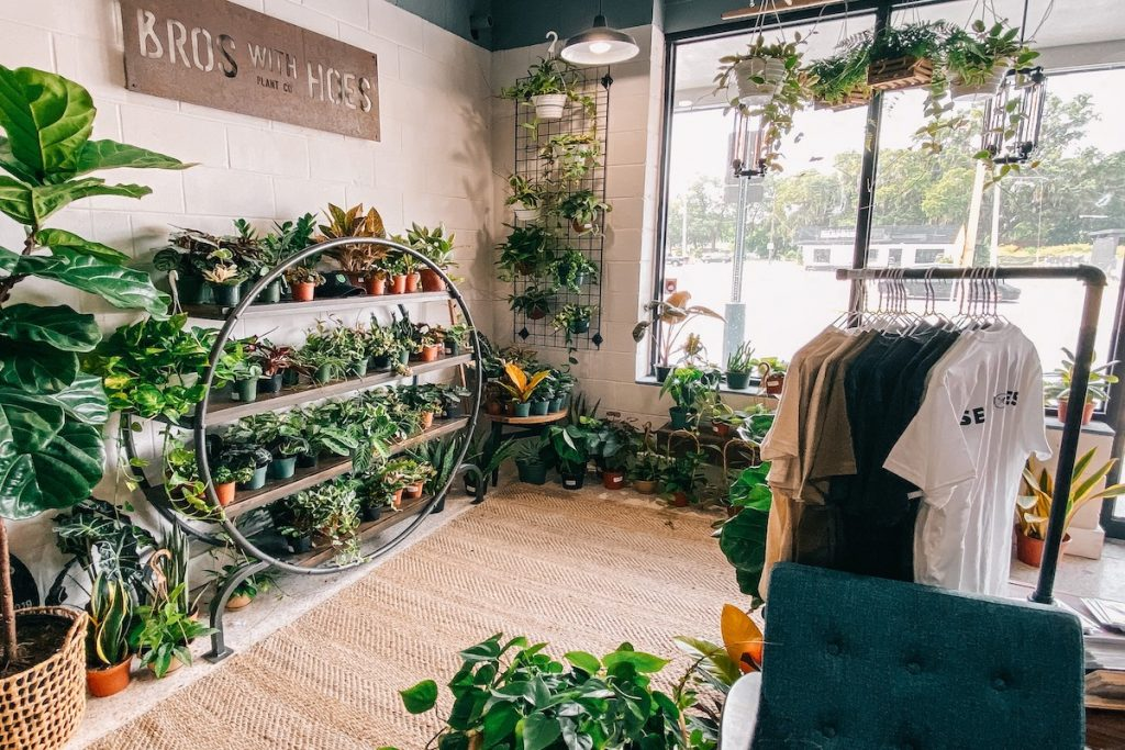 The interior of the Bros with Hoes Plant Co. shop filled with plants.