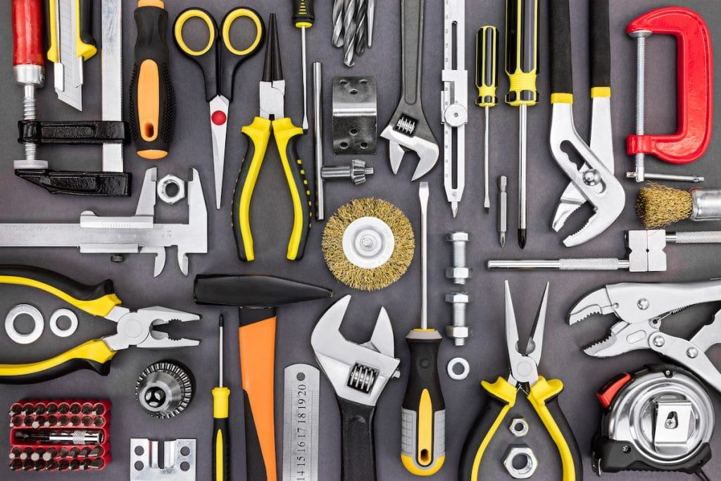 A top view of neatly arranged tools.