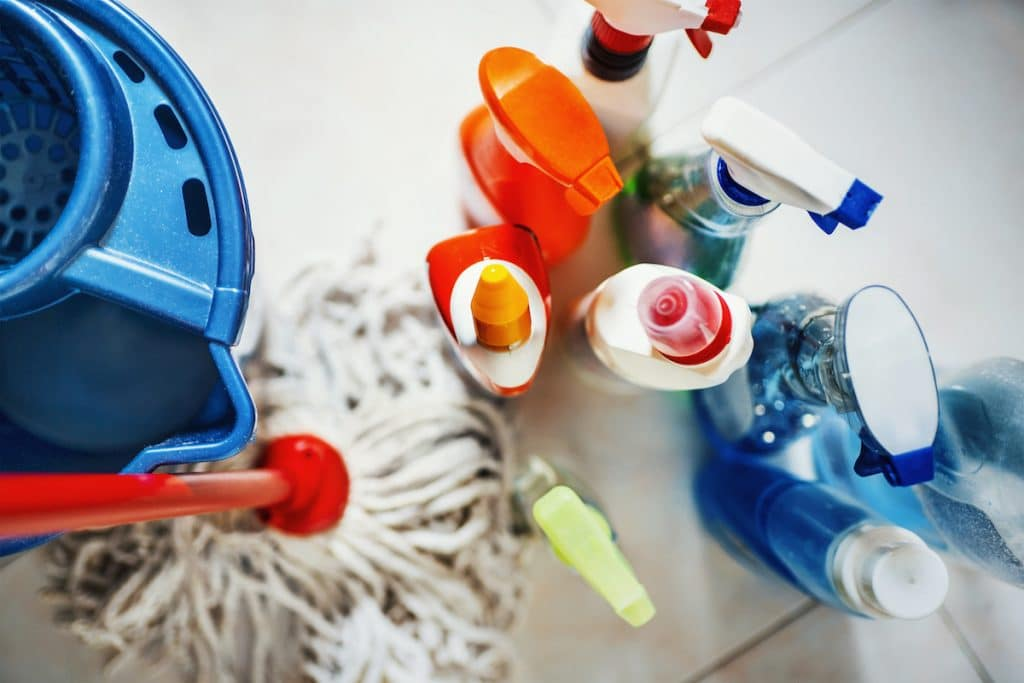 A top view of assorted cleaning supplies.
