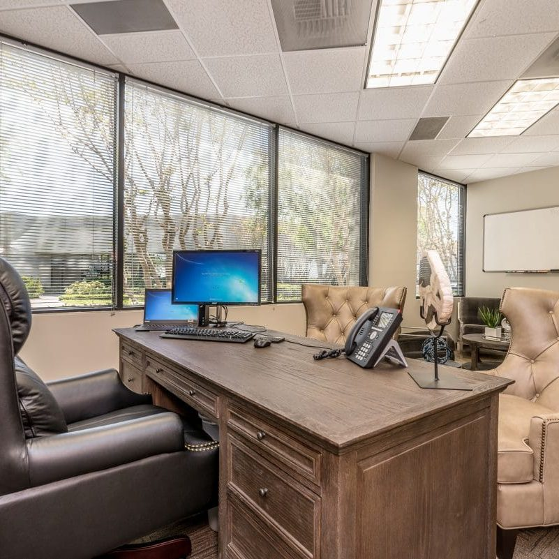 Executive office with leather seating
